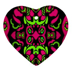 Psychedelic Retro Ornament Print Heart Ornament (Two Sides)