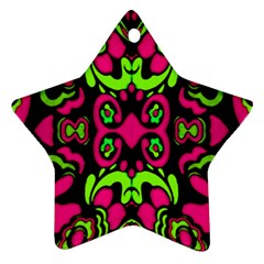 Psychedelic Retro Ornament Print Star Ornament (Two Sides)