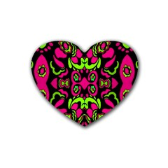 Psychedelic Retro Ornament Print Drink Coasters (Heart)