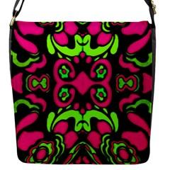 Psychedelic Retro Ornament Print Flap Closure Messenger Bag (small)