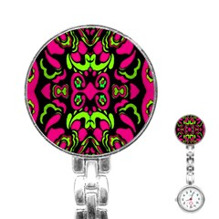 Psychedelic Retro Ornament Print Stainless Steel Nurses Watch