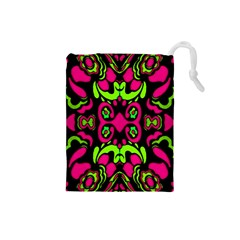 Psychedelic Retro Ornament Print Drawstring Pouch (small)