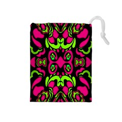 Psychedelic Retro Ornament Print Drawstring Pouch (Medium)