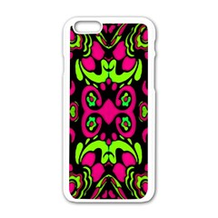 Psychedelic Retro Ornament Print Apple iPhone 6 White Enamel Case