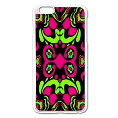 Psychedelic Retro Ornament Print Apple iPhone 6 Plus Enamel White Case