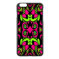 Psychedelic Retro Ornament Print Apple Iphone 6 Plus Black Enamel Case
