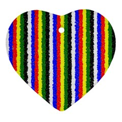 Basic Colors Curly Stripes Heart Ornament