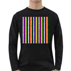 Basic Colors Curly Stripes Men s Long Sleeve T-shirt (Dark Colored)