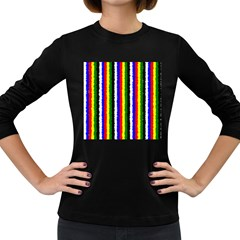 Basic Colors Curly Stripes Women s Long Sleeve T Shirt (dark Colored)