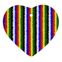 Basic Colors Curly Stripes Heart Ornament (two Sides)