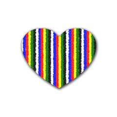 Basic Colors Curly Stripes Drink Coasters 4 Pack (Heart)