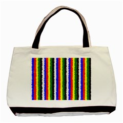 Basic Colors Curly Stripes Twin Sided Black Tote Bag