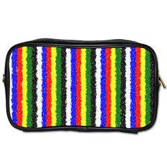Basic Colors Curly Stripes Travel Toiletry Bag (two Sides)