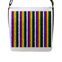 Basic Colors Curly Stripes Flap Closure Messenger Bag (large)