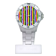 Basic Colors Curly Stripes Nurses Watch
