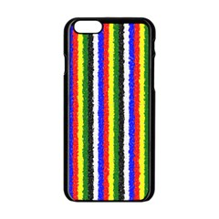 Basic Colors Curly Stripes Apple iPhone 6 Black Enamel Case