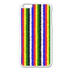 Basic Colors Curly Stripes Apple iPhone 6 Plus Enamel White Case