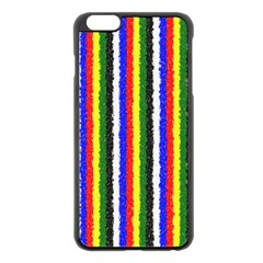 Basic Colors Curly Stripes Apple iPhone 6 Plus Black Enamel Case