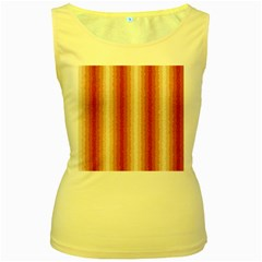 Red Curly Stripes Women s Tank Top (Yellow)