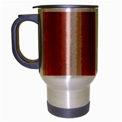 Red Curly Stripes Travel Mug (Silver Gray)