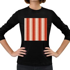 Red Curly Stripes Women s Long Sleeve T-shirt (Dark Colored)