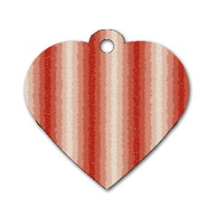 Red Curly Stripes Dog Tag Heart (Two Sided)