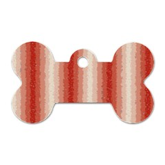 Red Curly Stripes Dog Tag Bone (Two Sided)