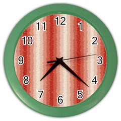 Red Curly Stripes Wall Clock (color)