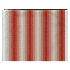 Red Curly Stripes Cosmetic Bag (XXXL)