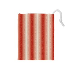 Red Curly Stripes Drawstring Pouch (Medium)