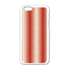 Red Curly Stripes Apple iPhone 6 White Enamel Case