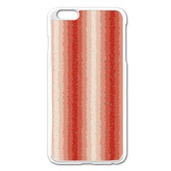 Red Curly Stripes Apple Iphone 6 Plus Enamel White Case
