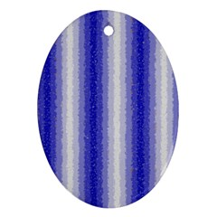 Dark Blue Curly Stripes Oval Ornament