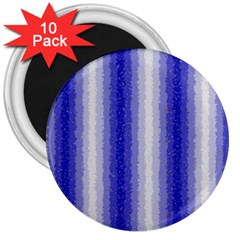 Dark Blue Curly Stripes 3  Button Magnet (10 pack)
