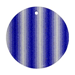 Dark Blue Curly Stripes Round Ornament (two Sides)