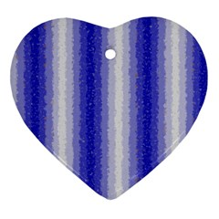 Dark Blue Curly Stripes Heart Ornament (two Sides)