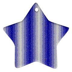 Dark Blue Curly Stripes Star Ornament (Two Sides)
