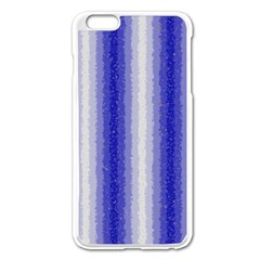 Dark Blue Curly Stripes Apple Iphone 6 Plus Enamel White Case