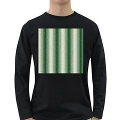 Dark Green Curly Stripes Men s Long Sleeve T Shirt (dark Colored)