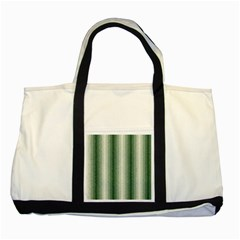 Dark Green Curly Stripes Two Toned Tote Bag