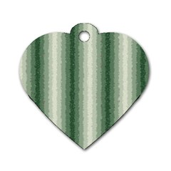 Dark Green Curly Stripes Dog Tag Heart (one Sided)