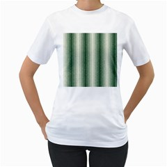 Dark Green Curly Stripes Women s T-Shirt (White)
