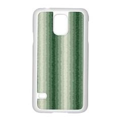 Dark Green Curly Stripes Samsung Galaxy S5 Case (White)