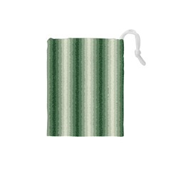 Dark Green Curly Stripes Drawstring Pouch (Small)