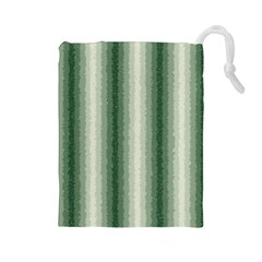 Dark Green Curly Stripes Drawstring Pouch (Large)