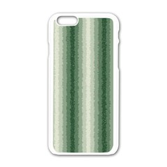 Dark Green Curly Stripes Apple Iphone 6 White Enamel Case