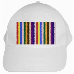 Vivid Colors Curly Stripes   1 White Baseball Cap
