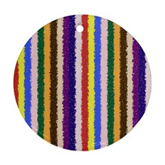 Vivid Colors Curly Stripes   1 Round Ornament (two Sides)