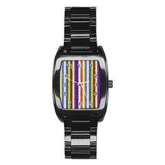Vivid Colors Curly Stripes - 1 Stainless Steel Barrel Watch