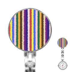 Vivid Colors Curly Stripes - 1 Stainless Steel Nurses Watch